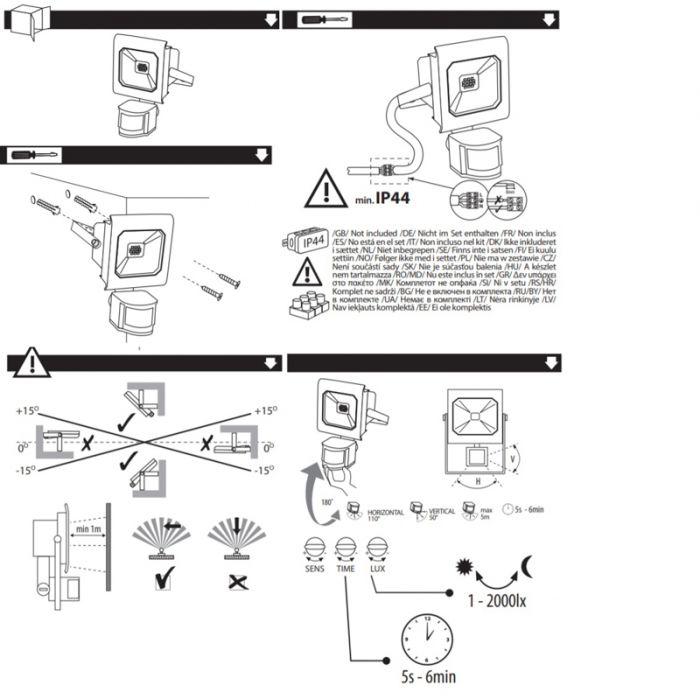 Sensor, zwarte schijnwerper Robo - 10 Watt