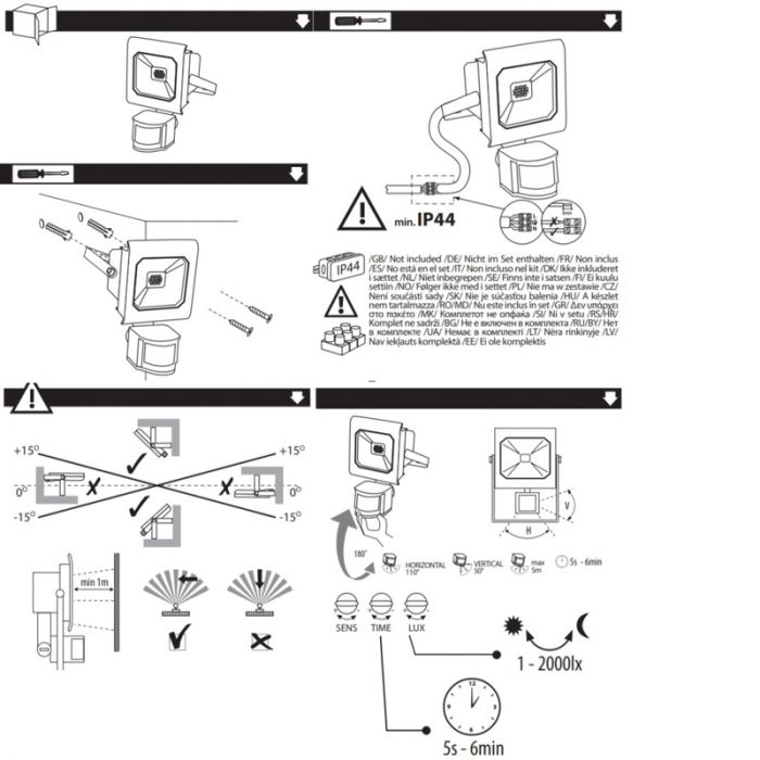 Sensor, grijze schijnwerper Robo - 10 Watt