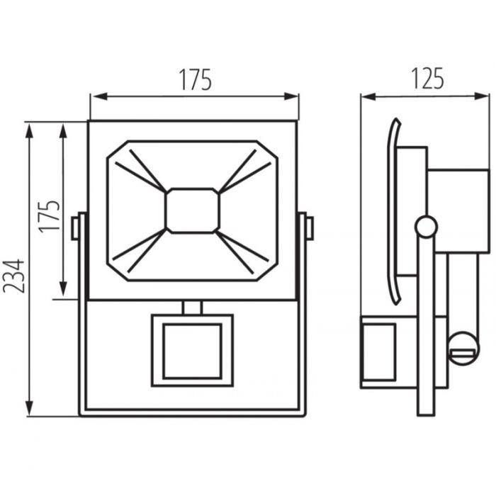 Sensor schijnwerper Robo, zwart - 30 Watt