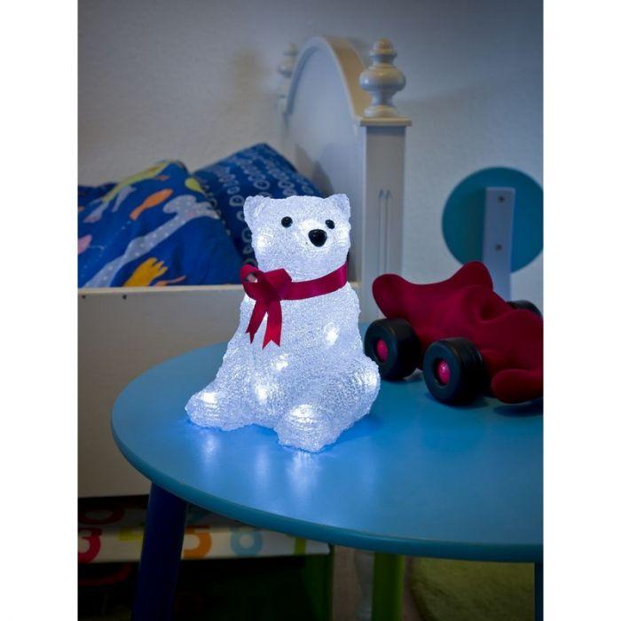 LED Ijsbeer kerst, zittend met rode strik 18cm, op batterij, voor binnen