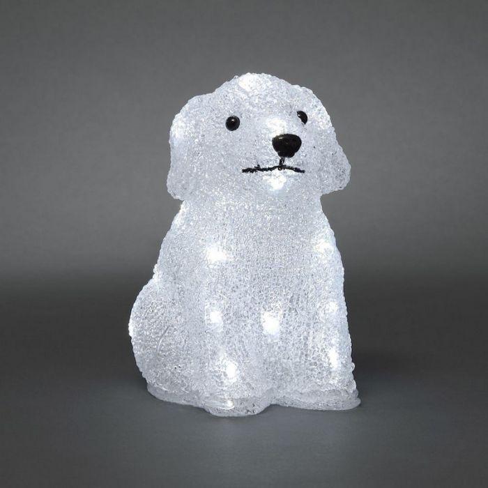 Acryl puppy, 20 LED lampjes, op batterij