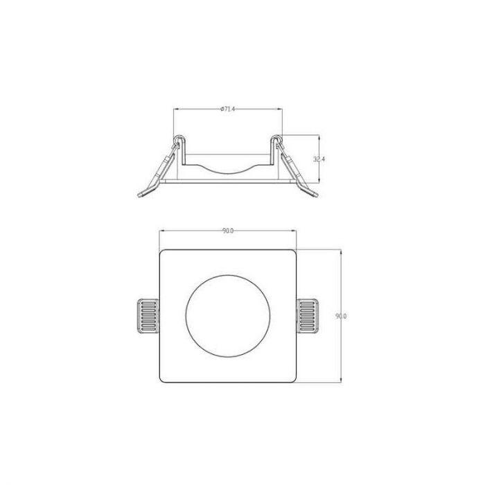 Witte badkamer inbouwspot Kees, Vierkant, IP65