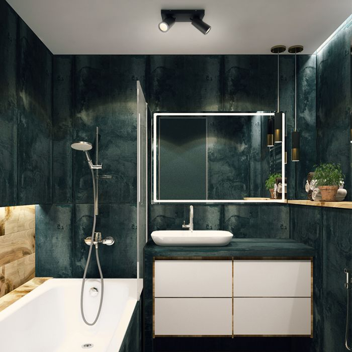 Zwarte badkamer plafondspot Kenan, 2L, IP44