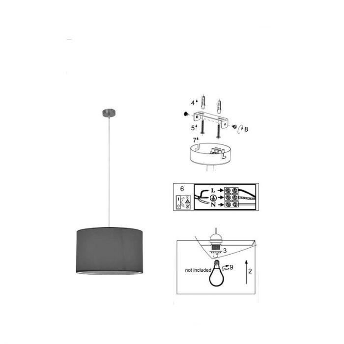 Zwarte, stoffen hanglamp Tanno