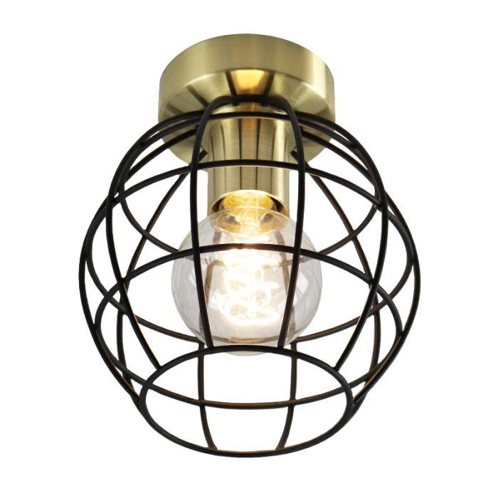 Industriële plafondlamp Jochem Bolvormig, gouden fitting