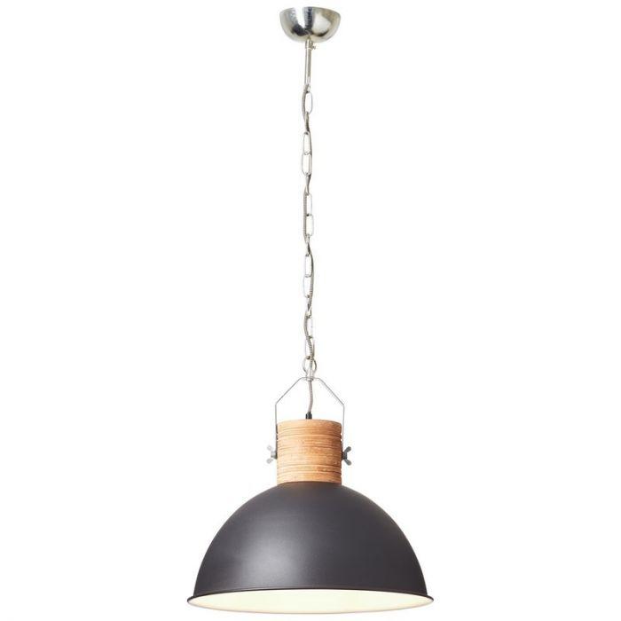 Landelijke, Industriële, Brocante Hanglamp Jennique - Zwart, Hout