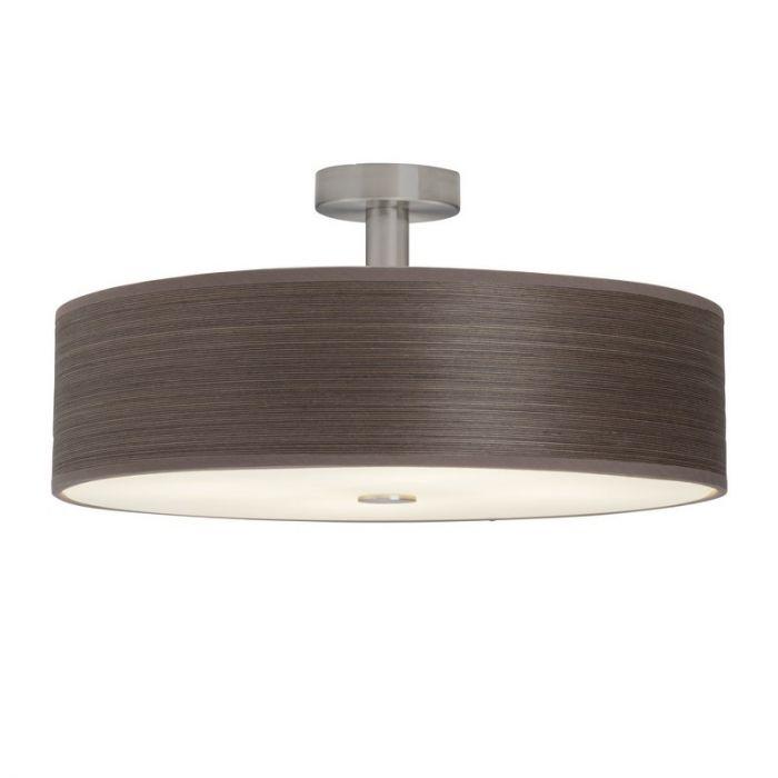 Bruine, stoffen plafondlamp Revi, met glasplaat