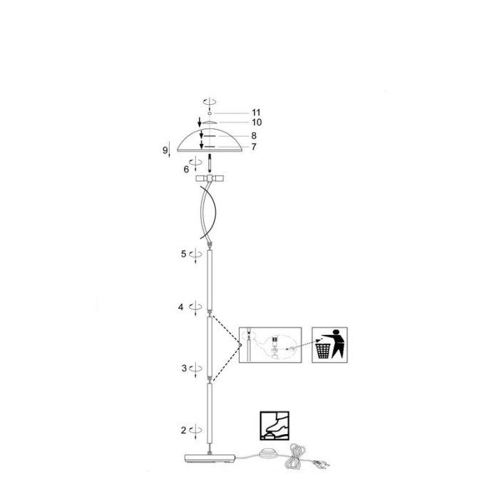 Mat chroom, Witte alabaster vloerlamp Ishara