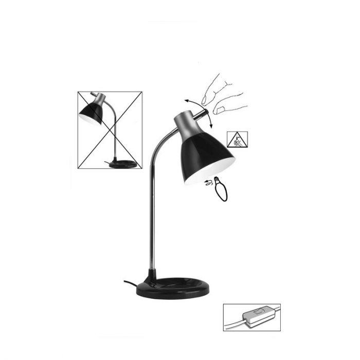 ZilverenGrijze, Zwarte bureaulamp Liesbeth
