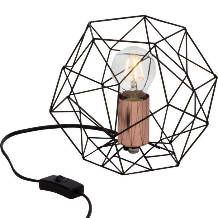 Landelijke, Moderne, Brocante Tafellamp Kaeleigh - Zwart, Koper