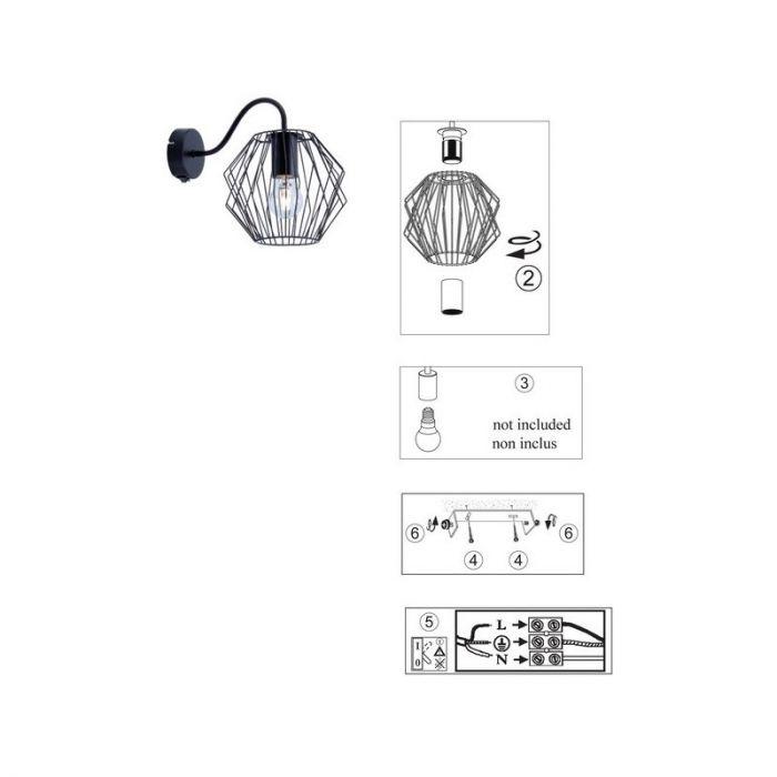 Industriële wandlamp Alvina, Zwart