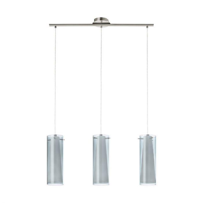 Eettafellamp Baunei Nikkel dubbellaags glas
