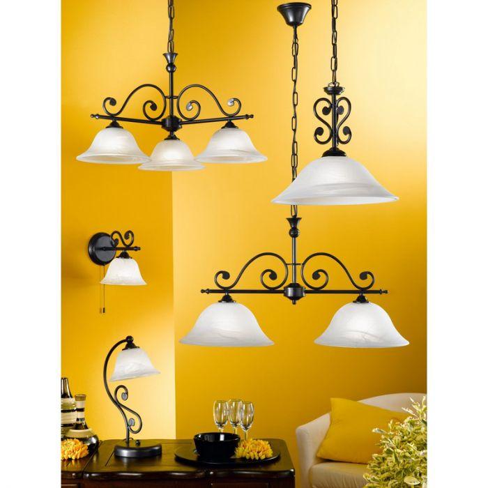 Klassiek landelijke hanglamp Tezze Zwart Wit
