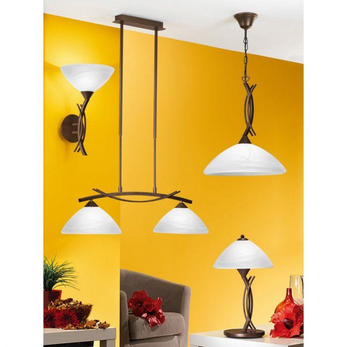 Landelijke eettafel hanglamp Bosena Bruin