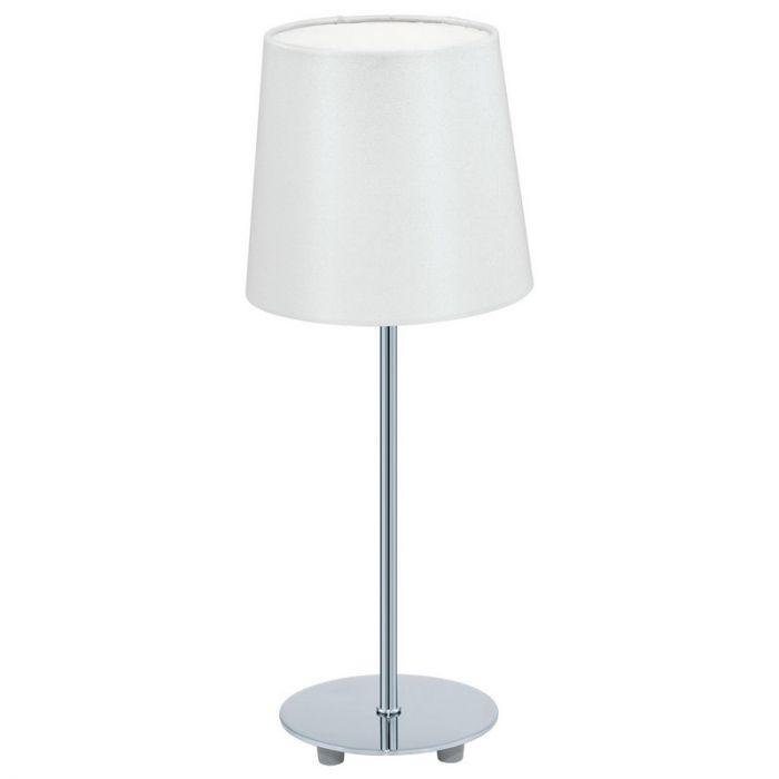 Arne tafellamp kap van textiel wit en chroom