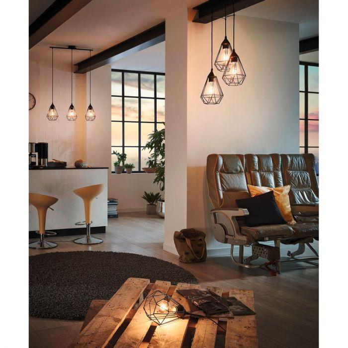 Ronde hanglamp Costel hippe zwarte lampenkappen