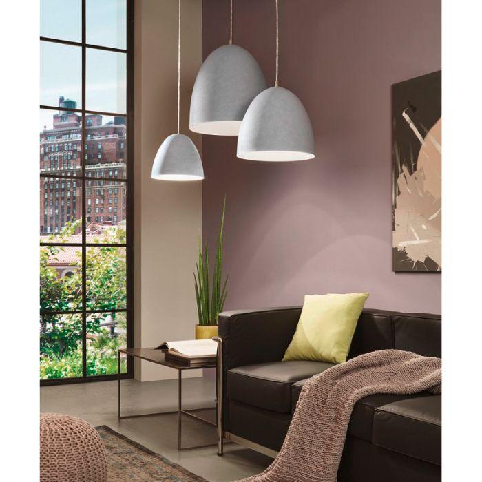 Kleine betongrijze hanglamp Ago