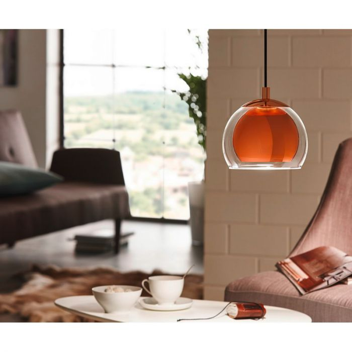 Design glas hanglamp Iroma Koper kleur