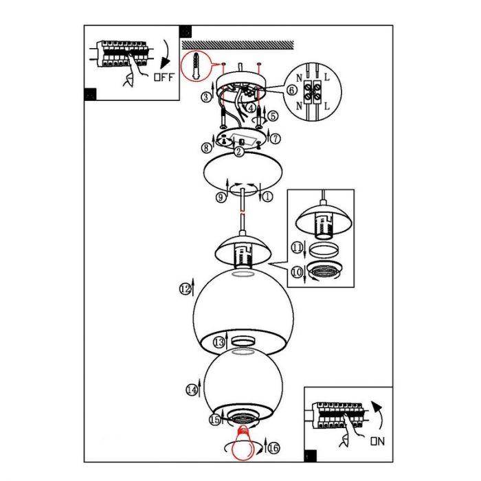 Design glas hanglamp Iroma Chroom Helder glas