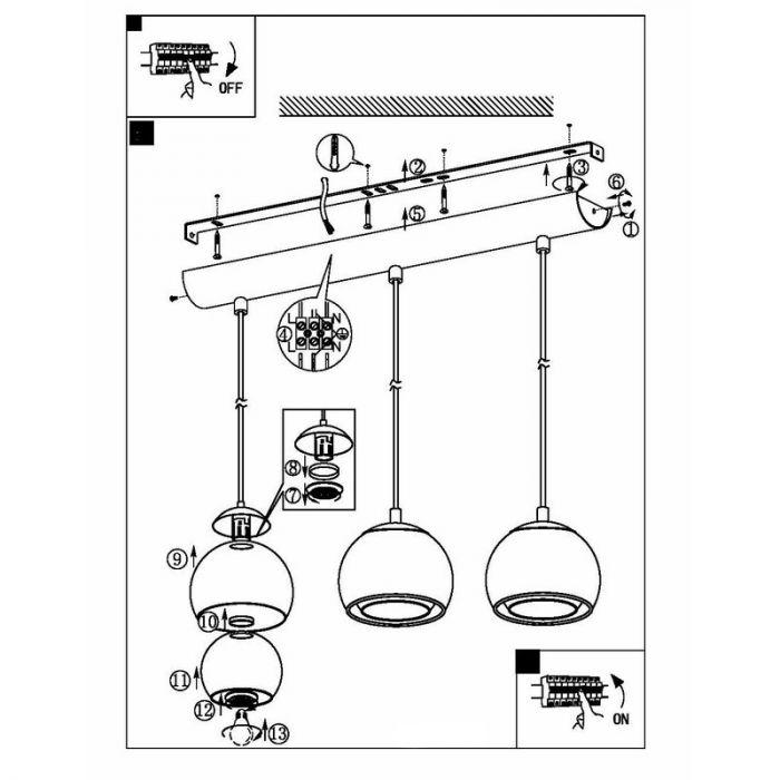 Design eettafellamp Iroma Ronde glaskappen
