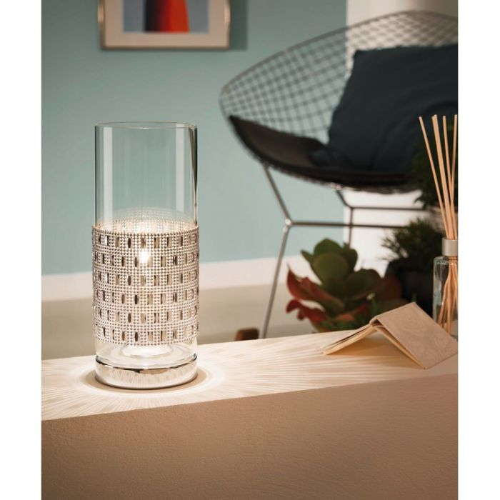 Klassieke Glazen Chroom Transparante tafellamp Liberty
