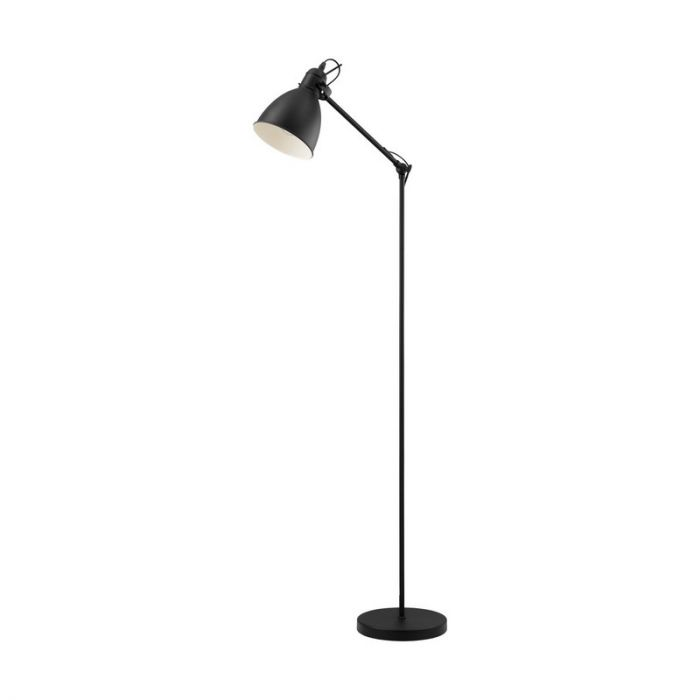 Landelijke Industrieel Zwarte Witte vloerlamp Jihan
